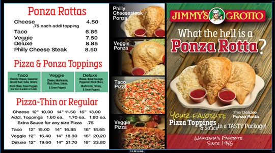 Jimmy's Grotto digital menu board, Animated with moving elements